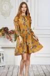 Платье 661-01 горчичное с цветами