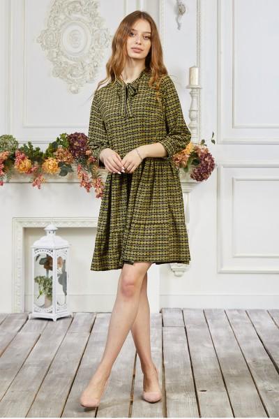 Платье 661-03 с геометрическим узором