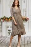 Плаття 667/1-01 бежевого кольору з геометричним візерунком