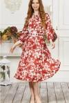 Платье 676-01 терракотовое с цветами