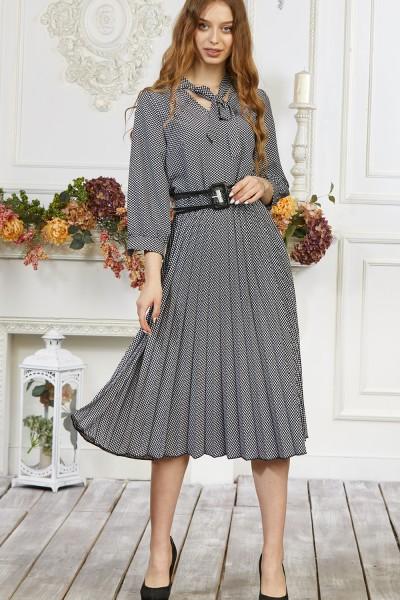 Платье 676-02 белое с черным узором