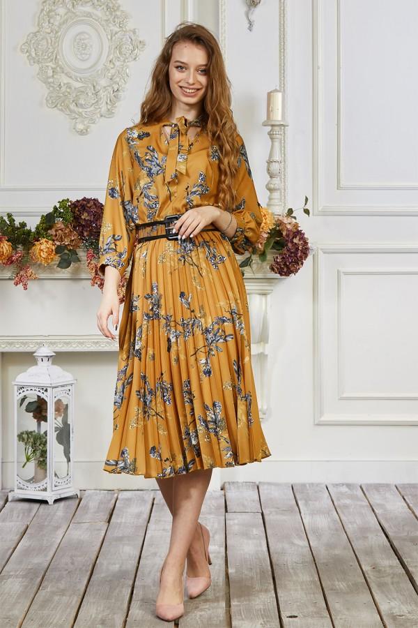 Платье 676-03 горчичное