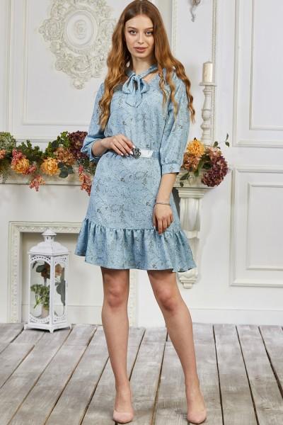 Платье 677-01 голубое с цветами