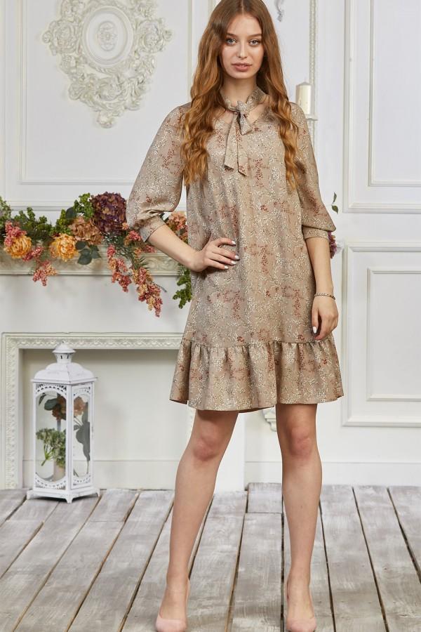 Платье 677-02 бежевое с цветами