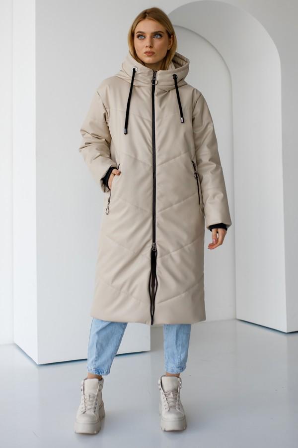 Зимова бежева жіноча куртка 185-02
