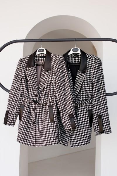 Пальто 835-01 гусиная лапка (черное/коричневое)