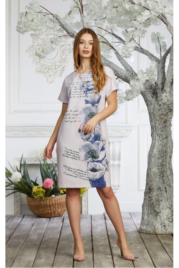 Платье 602-01 светло-розовое с принтом