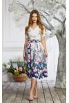 Платье 590-01 белое с принтом