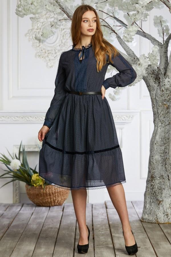 Платье 639/1-02 темно-синее