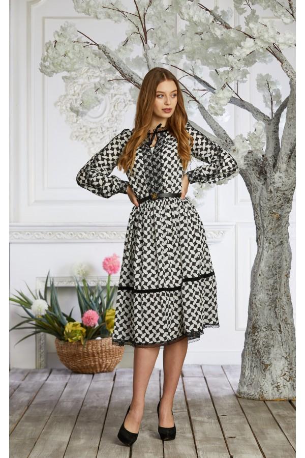 Платье 639-01 белое з черным
