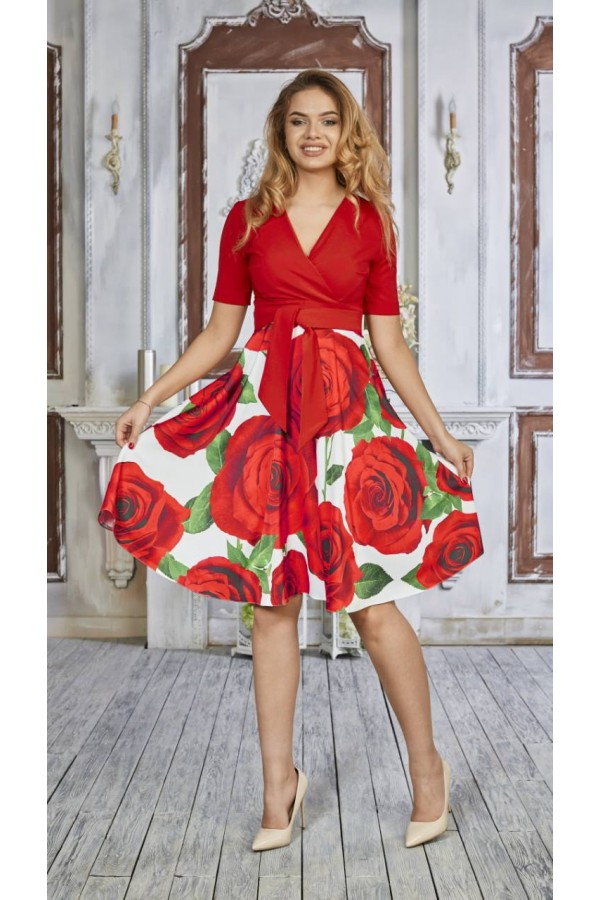 Платье 494-01 красное
