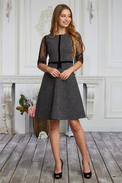 Платье 620-01 черное в клетку