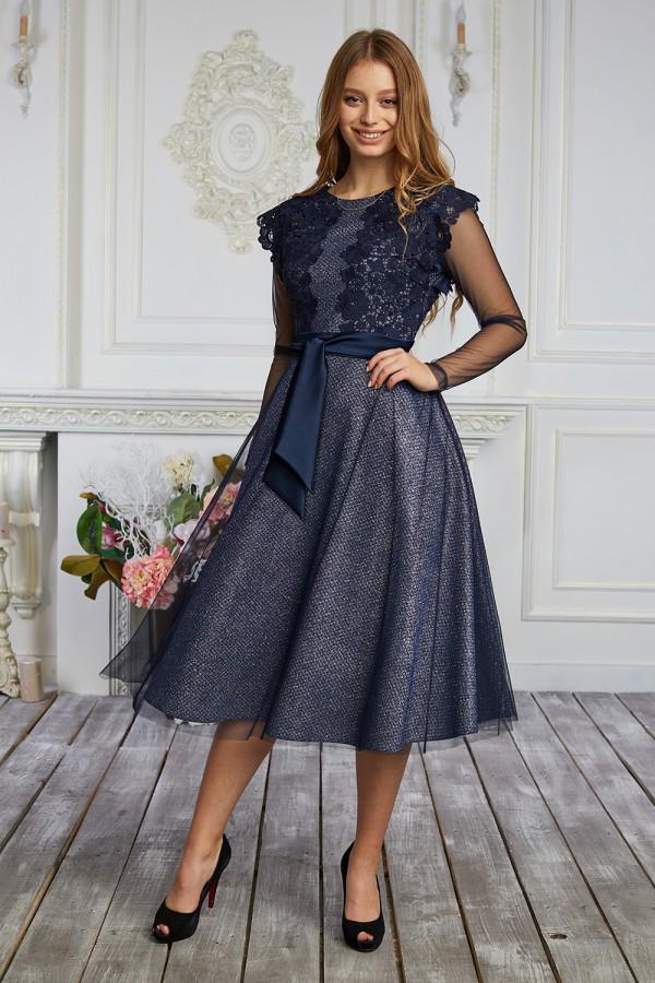 Платье 622-02 синее