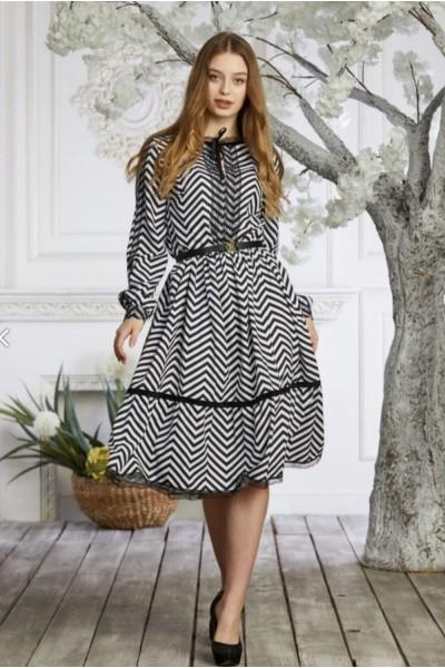 Платье 639-02 белое з черным