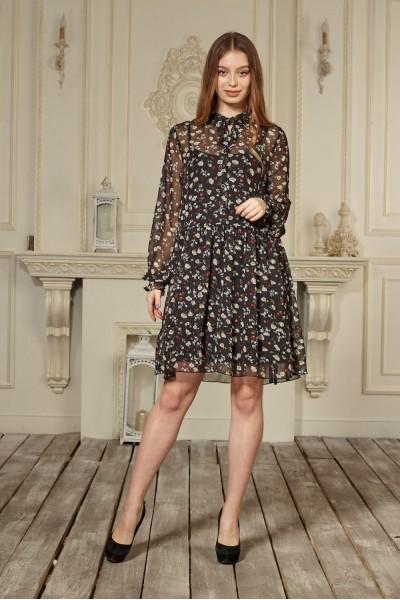 Платье 663-01 черное с цветами