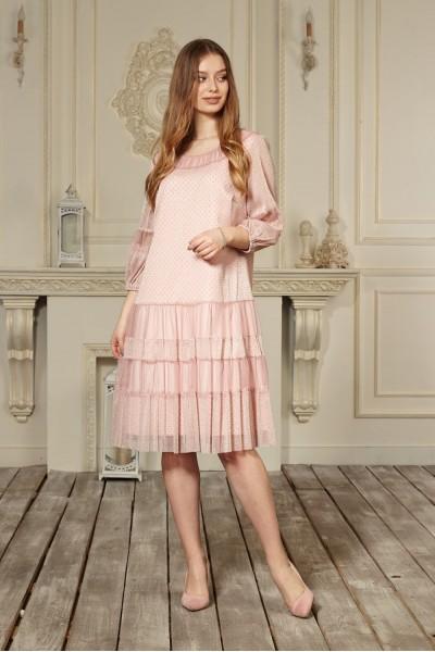 Платье 644-01 цвет пудра