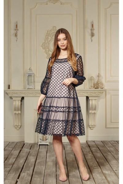 Платье 644/1-02 темно-синее с пудрой