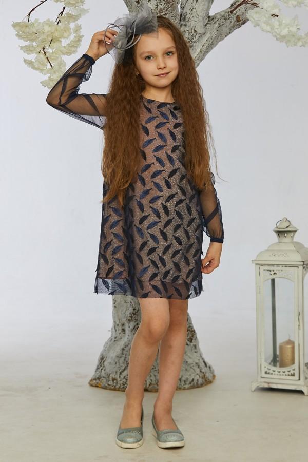 Детское платье 2/1-01 синее