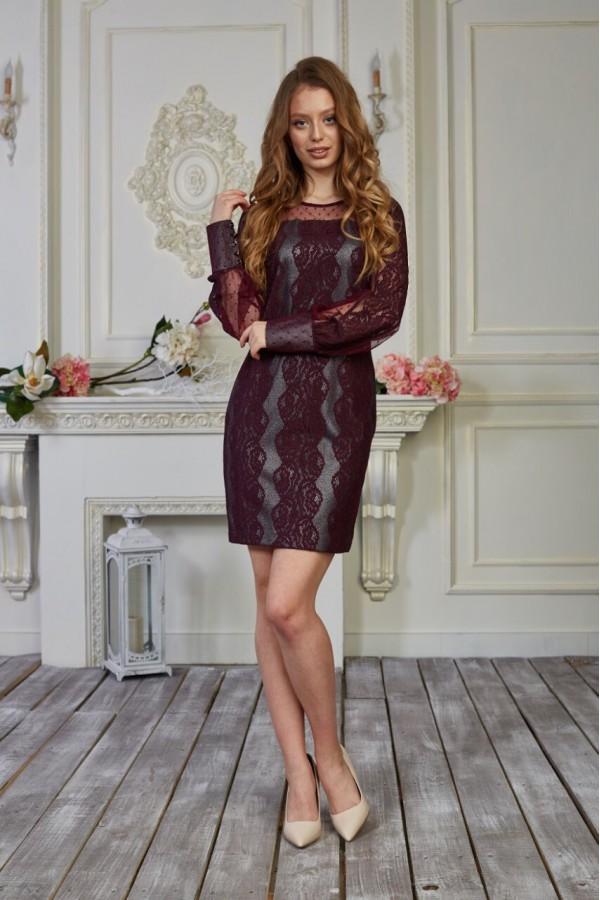 Платье 553-01 бордовое