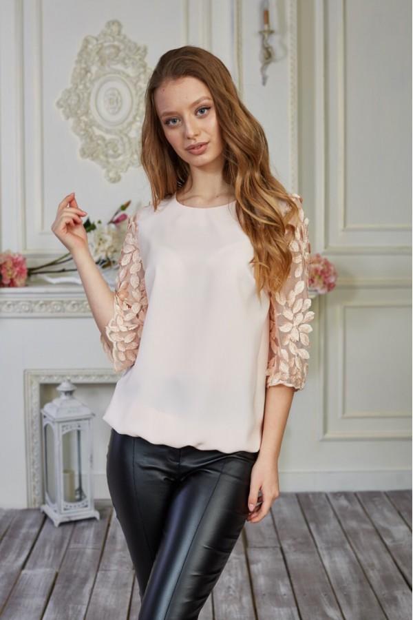 Блуза 579-01 бежевая