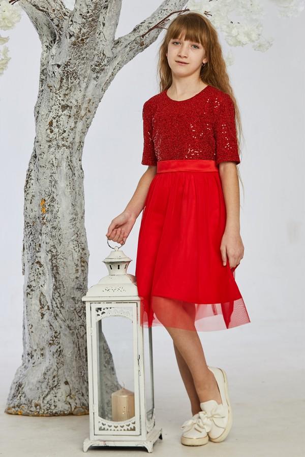 Детское платье 6-01 красное