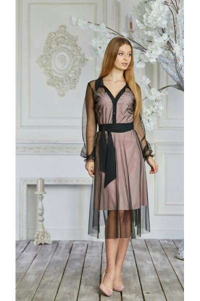 Плаття 625-03 чорне з рожевим