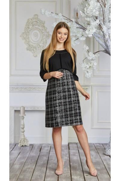 Платье 627-02 черно-белое