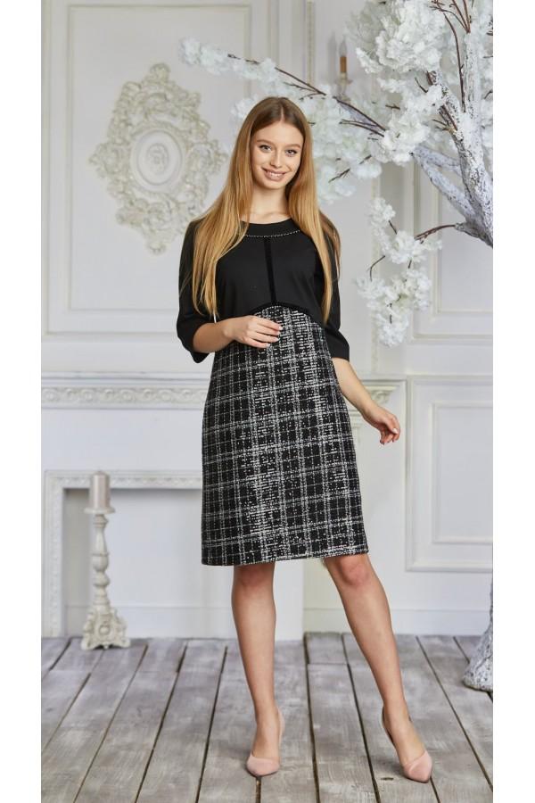 Сукня 627-02 чорно-біла
