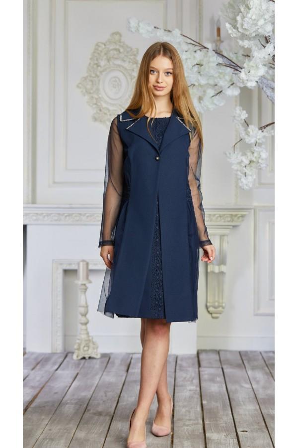 Платье 628-01 синее