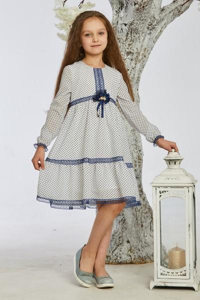 Детское платье 9/1-01 белое с синим