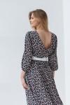 Платье 192-04 черное с мелкими цветами