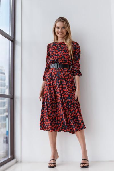 Платье 212-05 черное с краcными цветами