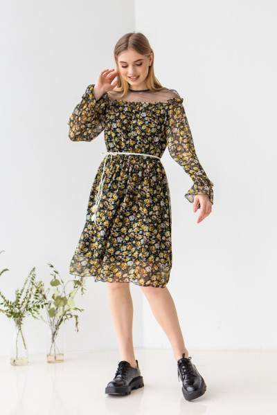 Платье 227-01 желтые цветы