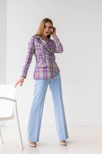 Костюм 229-04 бузковий блакитні брюки