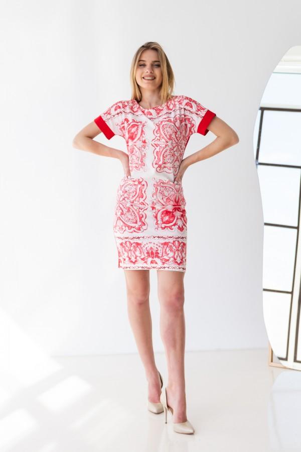 Платье 277-02 красное с узором