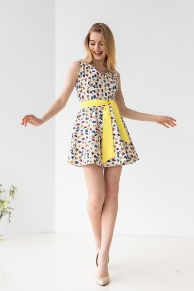 Платье 303-01 белое с птицами