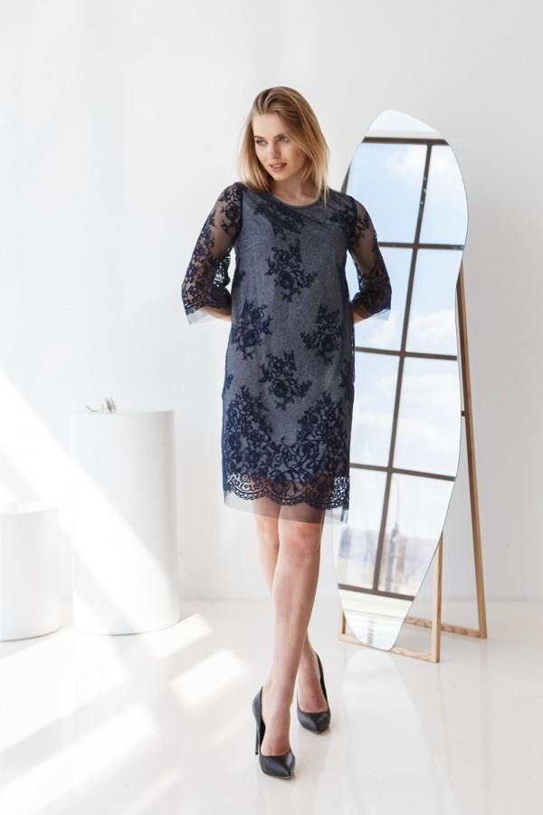 Платье 035-01 темно-синее