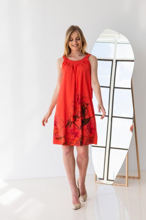 Платье 421-01 коралового цвета с принтом