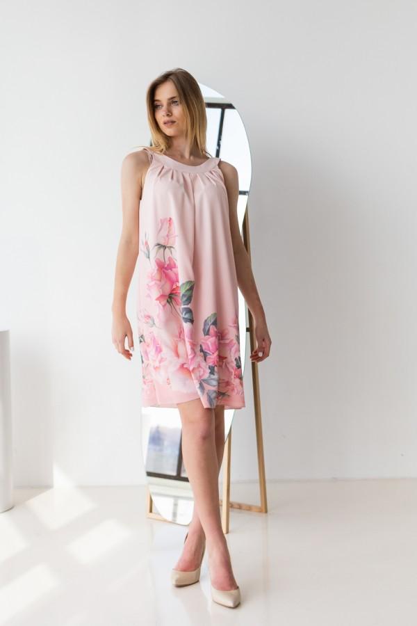 Плаття 421-03 рожеве з квітами