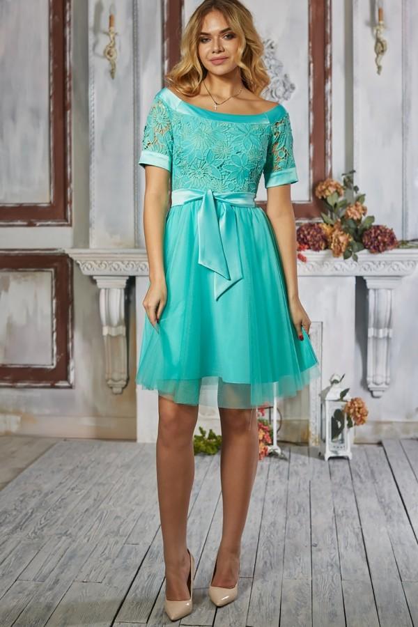 Платье 485-01 цвет бирюзовый