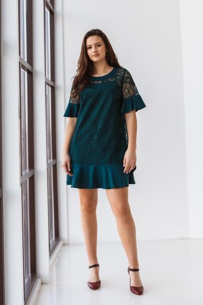 Платье 555/1-03 темно зеленое