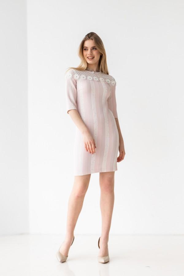 Платье 575-02 белое с розовым