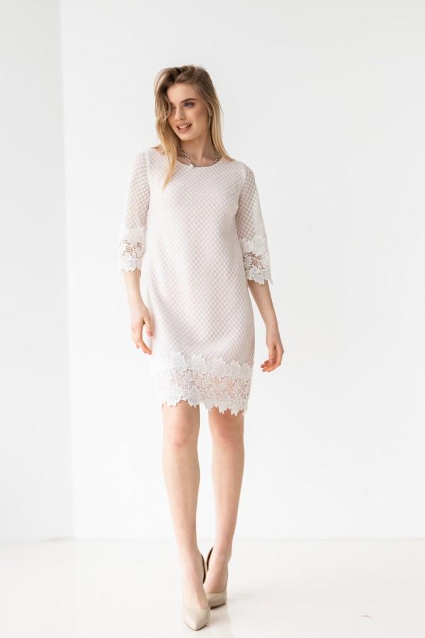 Платье 583-01 белое с розовом