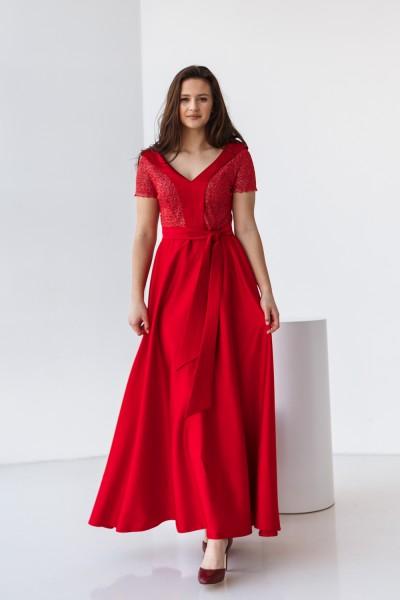 Платье на выпускной 587-01 красное