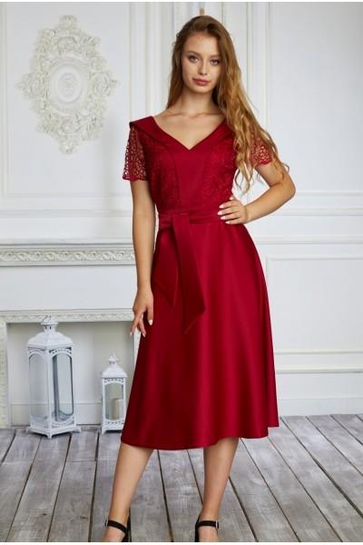 Платье на выпускной 589-01 бордовое