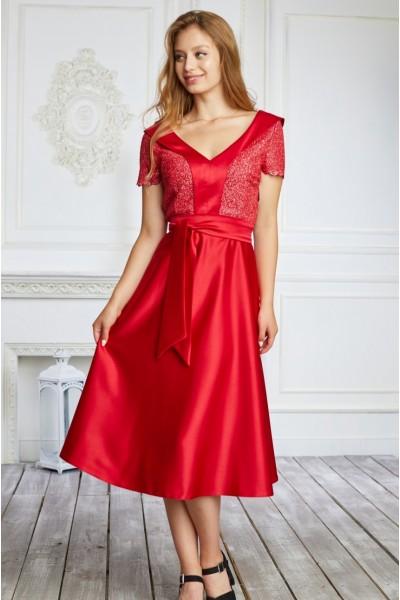 Платье на выпускной 589-02 красное