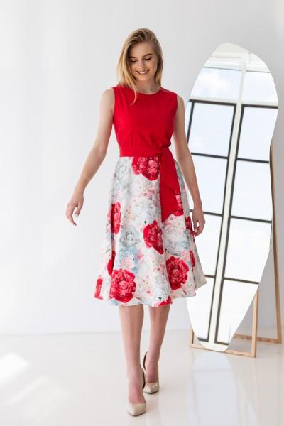 Платье 592-02 красное