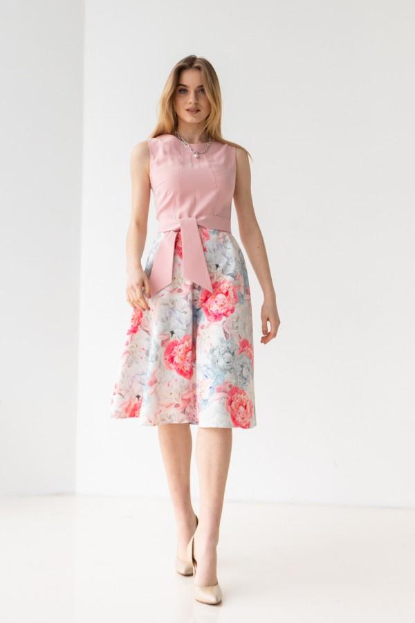 Платье 592-04 пудра с цветами