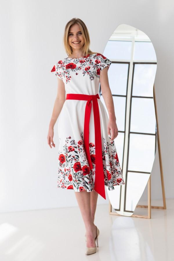 Плаття 599/1-02 біле з квітами