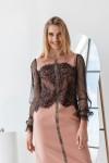 Плаття 636-01 пудра з чорним